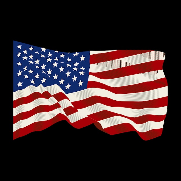 American flag fluttering background Premium Vector