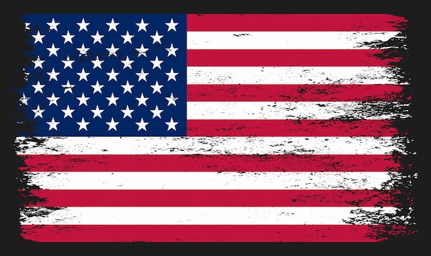 American flag in grunge style Premium Vector