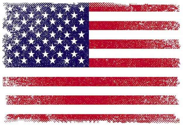 グランジスタイルのアメリカの国旗 Premiumベクター