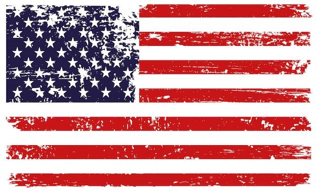グランジスタイルでアメリカの国旗 Premiumベクター