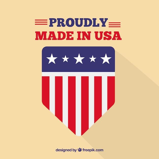 American flag label Free Vector
