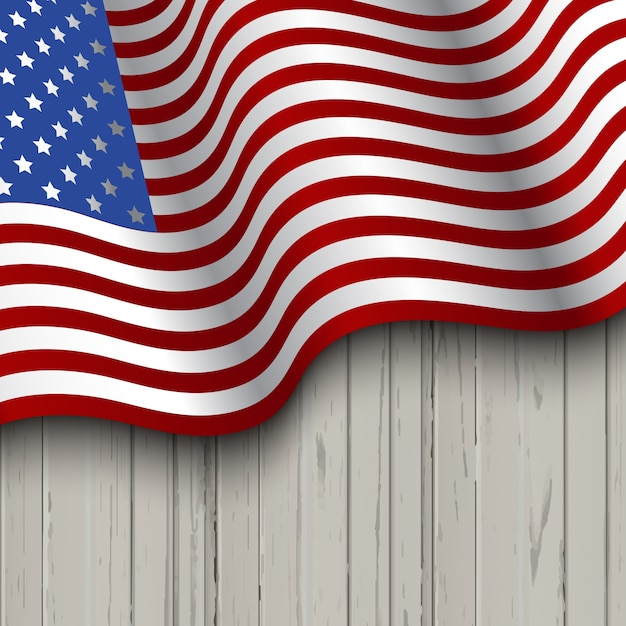 american flag on a wooden background vector free download