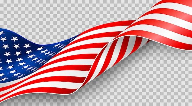 7トンの透明な背景にアメリカの国旗 Premiumベクター