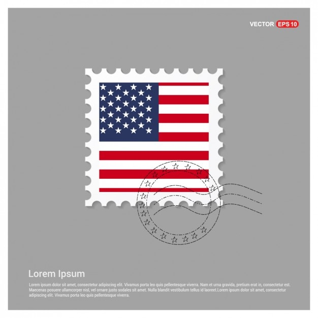 American Flag Stamp Template Vector | Free Download