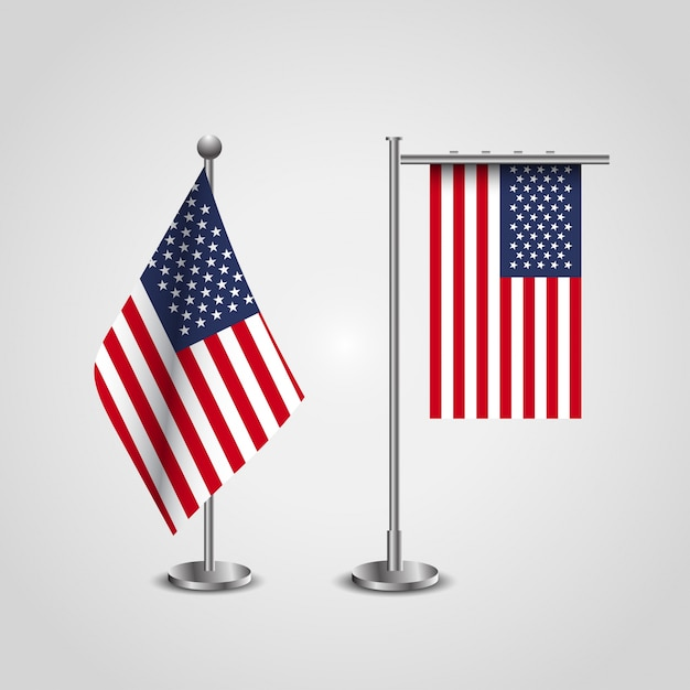 AMerican Flag stand set. USA flag set Free Vector