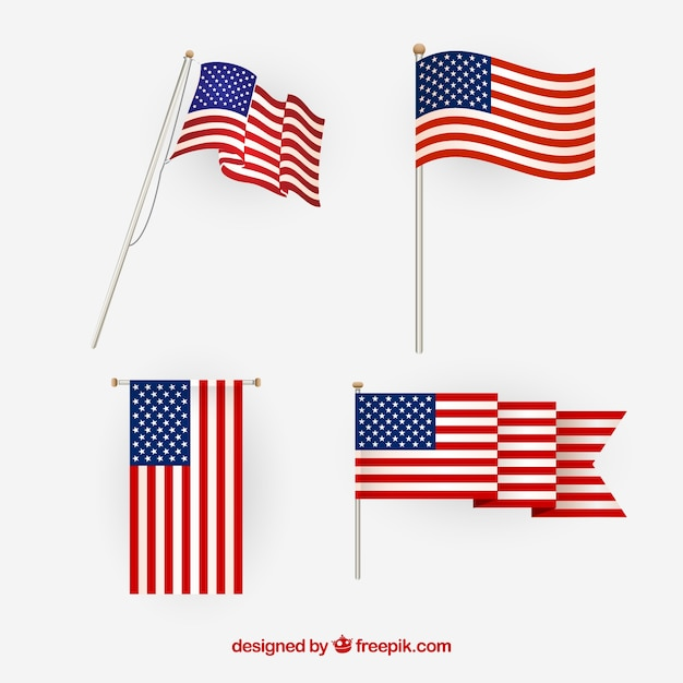 3b6f9a60b813 American flag vector. different views. Free Vector