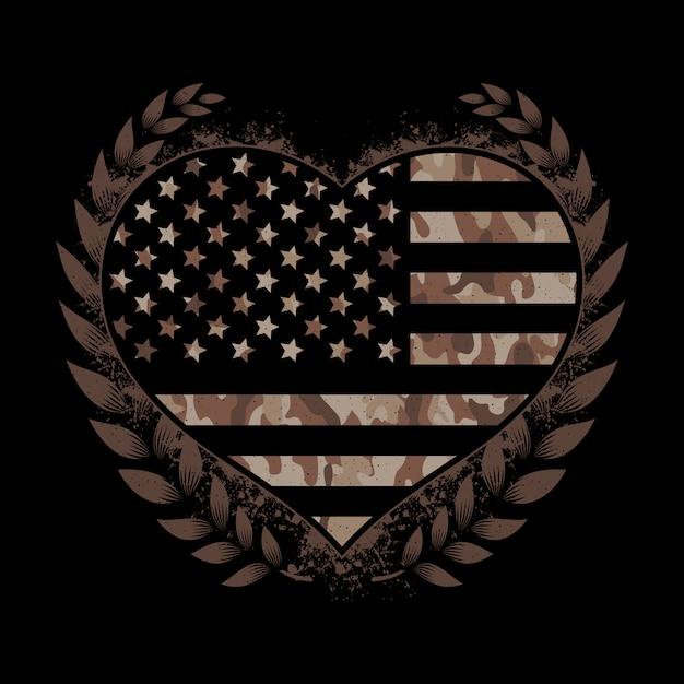 迷彩ハースとアメリカの国旗 Premiumベクター