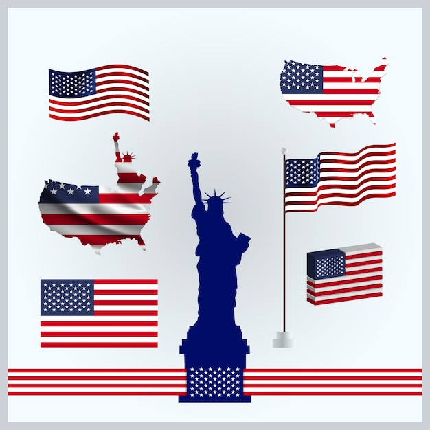 American flags set Free Vector