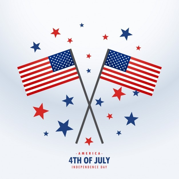 American flags with stars Free Vector