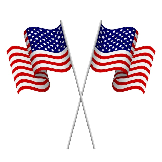 American flags Premium Vector