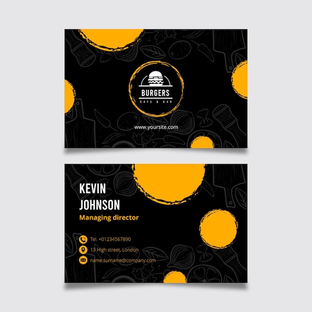 American food business card template Free Vector