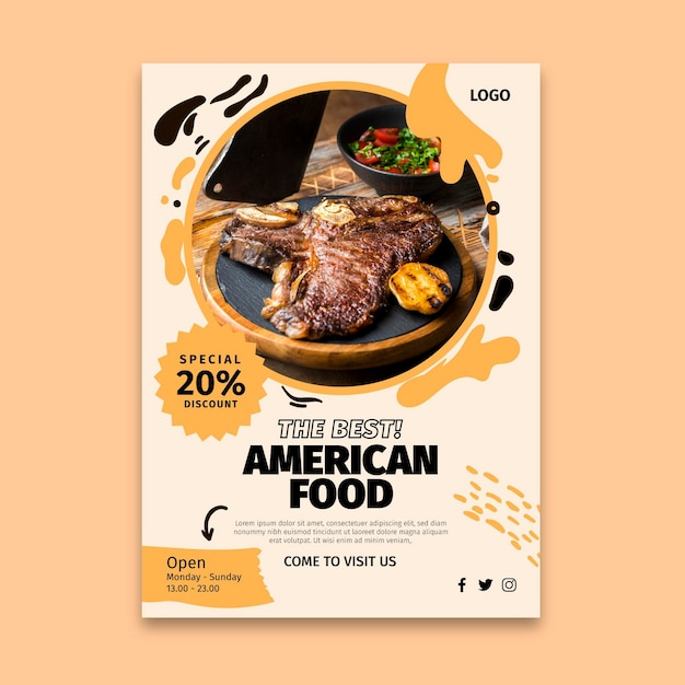 Американская еда флаер вертикальный Бесплатные векторы