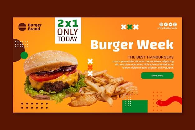 Banner orizzontale di cibo americano con hamburger Vettore gratuito