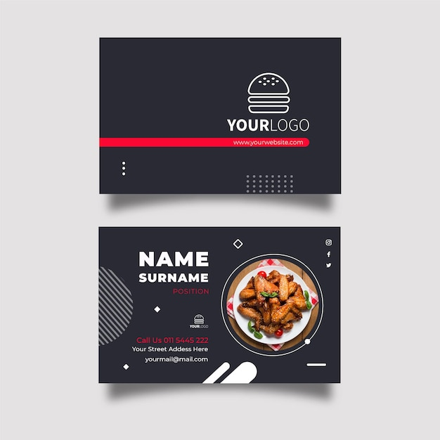 American food horizontal business card Premium Vector