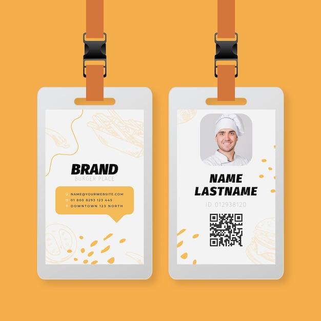 Modello di carta d'identità di cibo americano Vettore gratuito