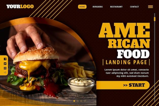 미국 음식 방문 페이지 템플릿 프리미엄 벡터