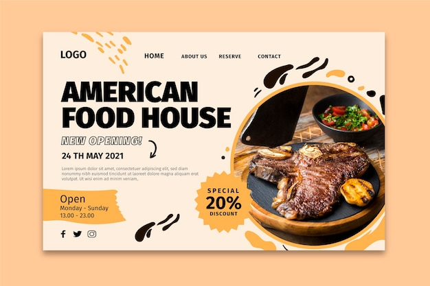 アメリカ料理のランディングページ 無料ベクター