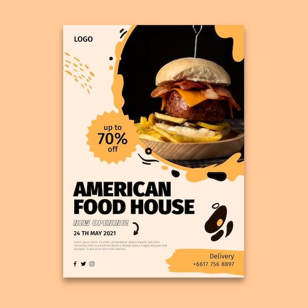 Modello di poster di cibo americano Vettore gratuito
