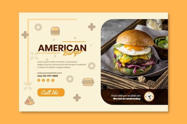 Modello di banner pub cibo americano Vettore gratuito