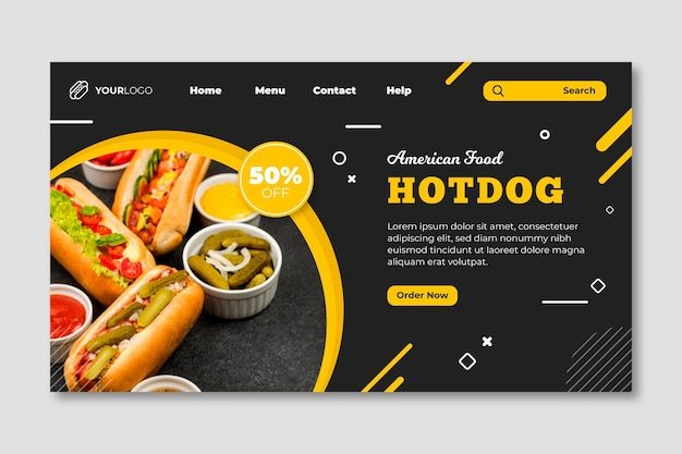 American food restaurant landing page template Free Vector