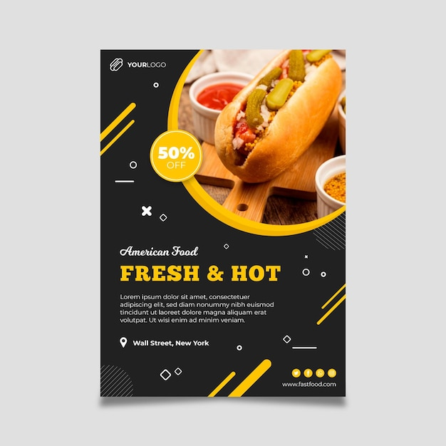 American food restaurant poster template Free Vector