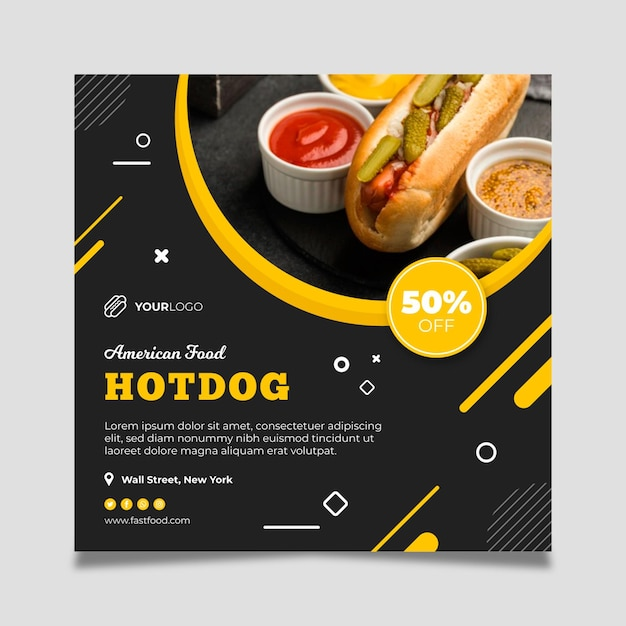 American food restaurant square flyer template Free Vector