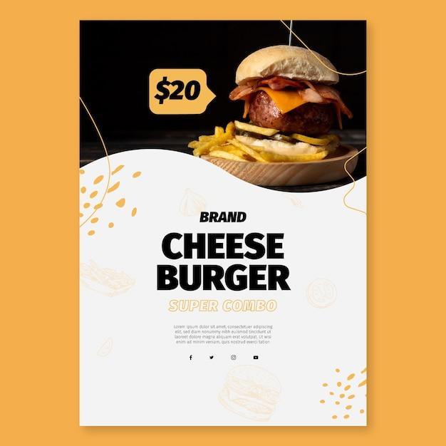 Американская еда шаблон плаката Бесплатные векторы