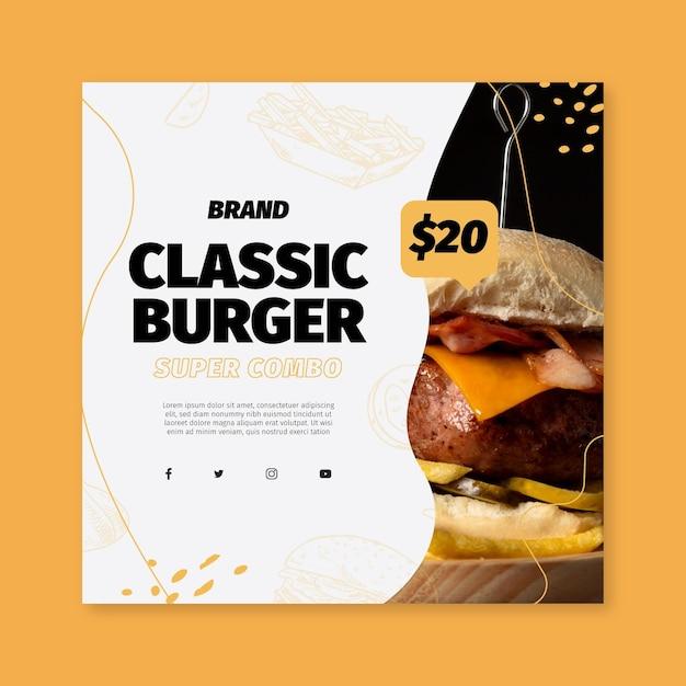 Volantino quadrato modello di cibo americano Vettore gratuito