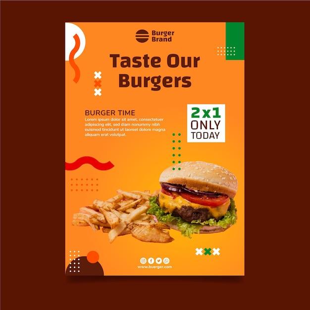Вертикальный плакат американской кухни с гамбургером Бесплатные векторы