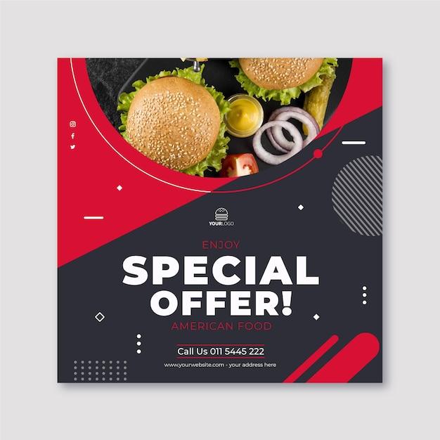 アメリカ料理の縦二乗テンプレート 無料ベクター