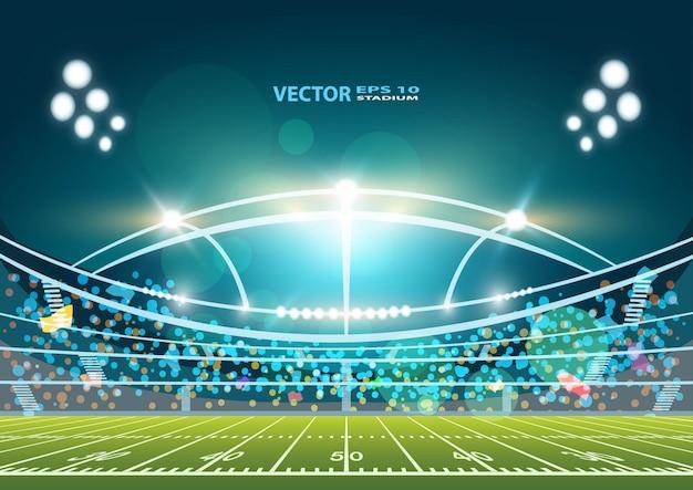 American football arena field with bright stadium lights design. Premium Vector