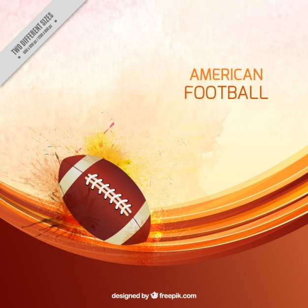 American football background with ball and wavy forms Free Vector