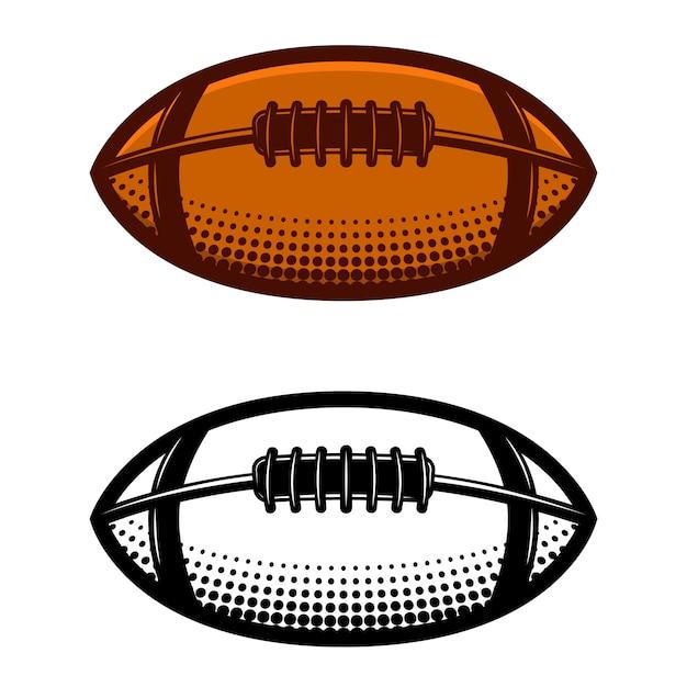 白い背景の上のアメリカンフットボールのボールのイラスト。ロゴ、ラベル、エンブレム、記号の要素。図 Premiumベクター