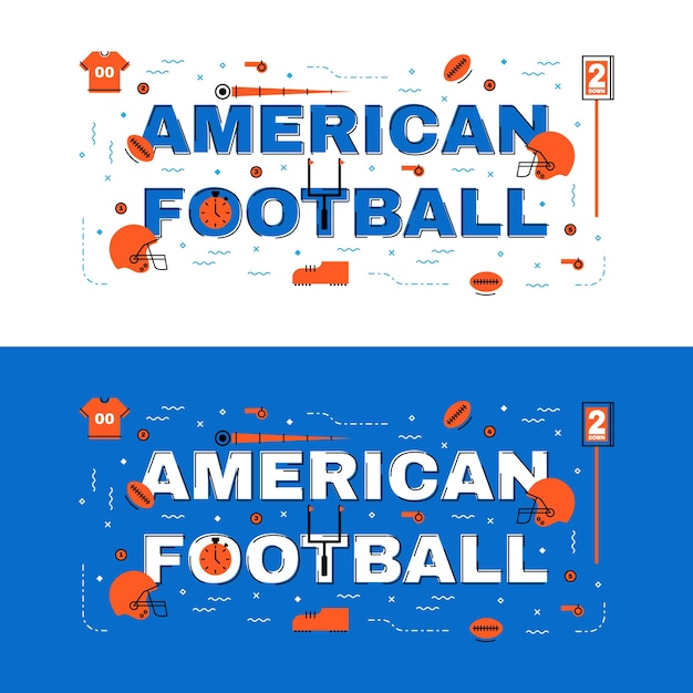 American Football Banner American Football Lettering Flat Line Design With Icons Premium Vector
