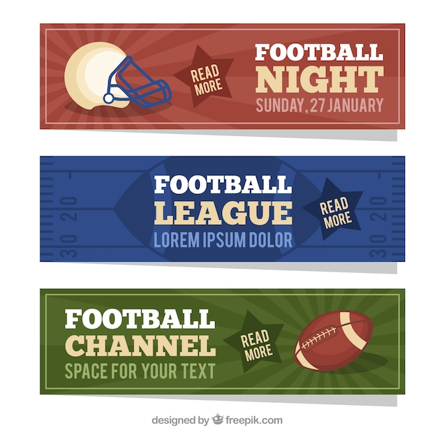 American Football Banners In Flat Design Free Vector