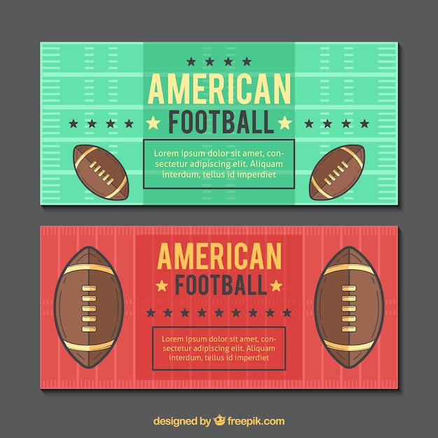American football banners in vintage\ design