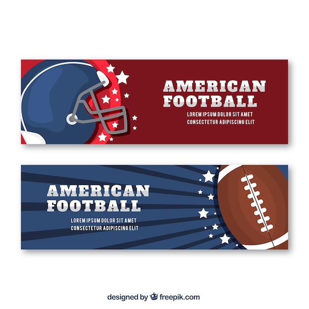 Freepik American Football Banners With Helmet And Ball In Flat Design Vector For Free