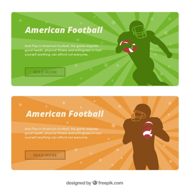 American football banners with players\ silhouettes