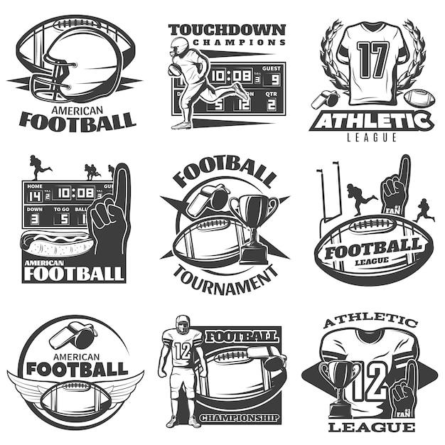 アメリカンフットボール黒白いエンブレムプレーヤートロフィー泡手スポーツ衣料と分離された機器 無料ベクター