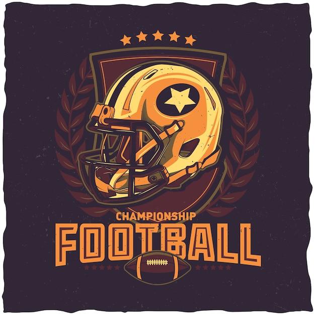 American football championship poster Free Vector
