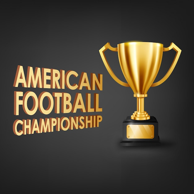 American football championship with gold trophy Premium Vector