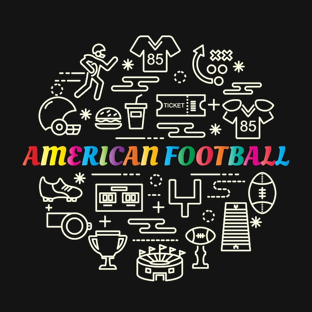 American football colorful gradient with line icons set Premium Vector