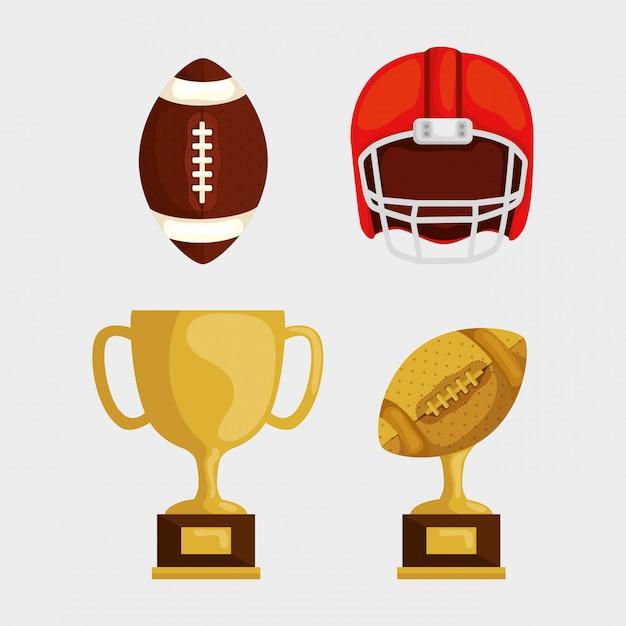 アメリカンフットボールの要素セット Premiumベクター