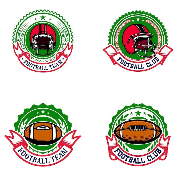 アメリカンフットボールのエンブレム。ロゴ、ラベル、記号の要素。画像 Premiumベクター