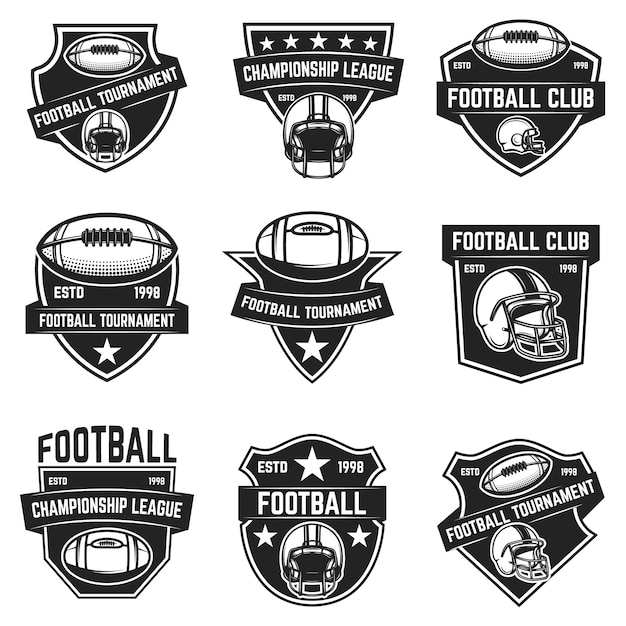 Эмблемы американского футбола. элемент для логотипа, этикетки, знака. образ Premium векторы