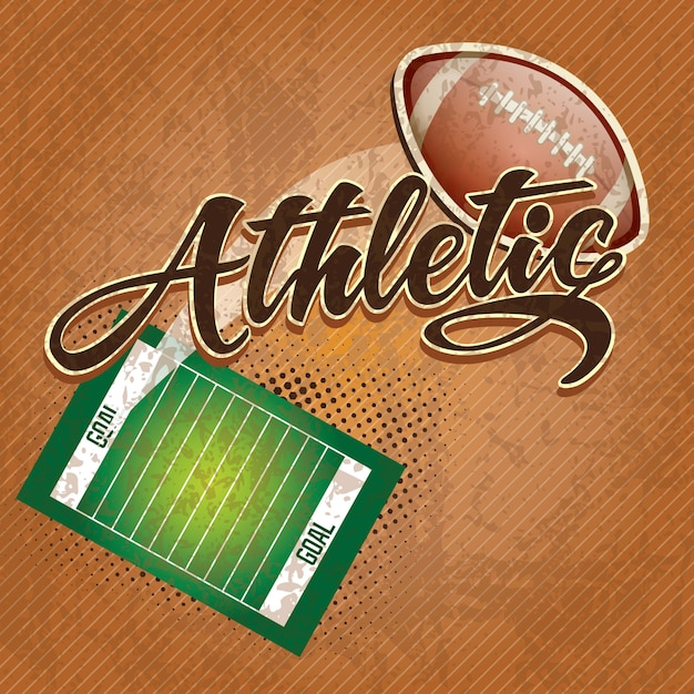 American  football field athletic team on retro background Premium Vector