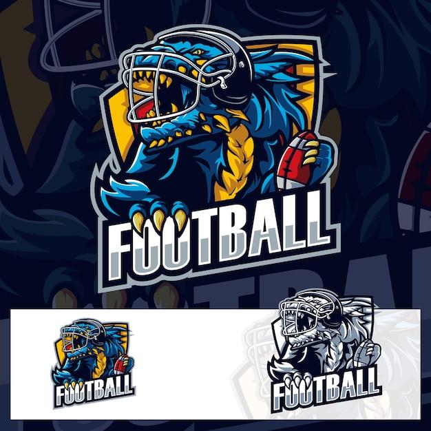 アメリカンフットボールゴジラスポーツロゴ Premiumベクター