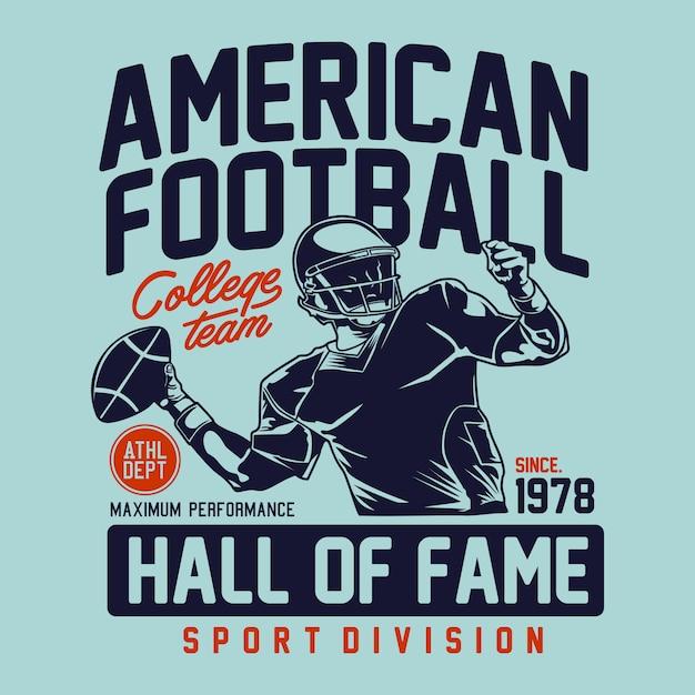 Зал славы американского футбола за графическую печать Premium векторы