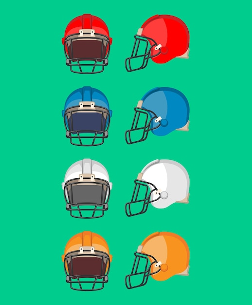 アメリカンフットボール用ヘルメットセット。主にアメリカンフットボールとカナディアンフットボールで使用される保護具。さまざまな色のスポーツヘルメットコレクション。フラットスタイルデ。図 Premiumベクター