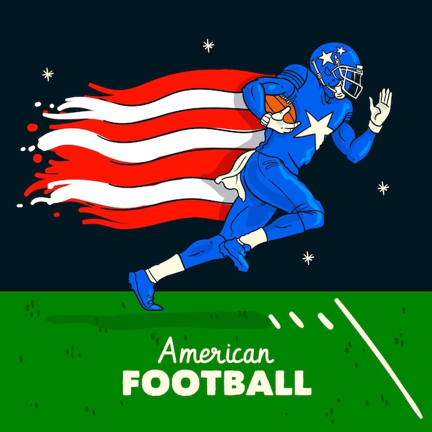 Illustrazione di football americano Vettore gratuito